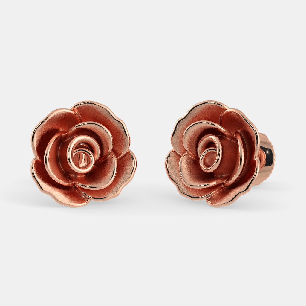 flower wren stud and earrings rose pin gold