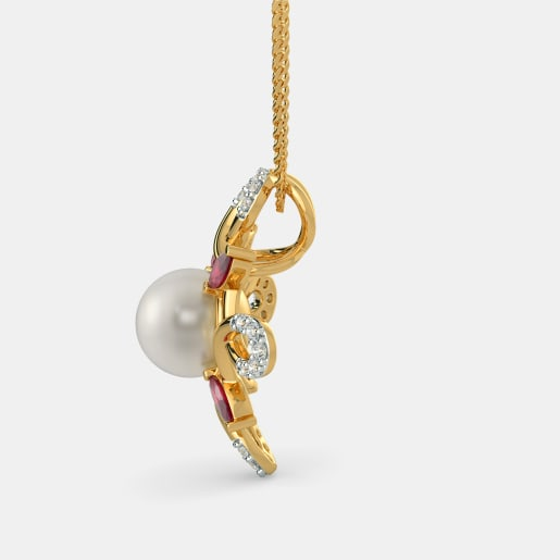 Diamond , White Pearl And Ruby Pendant In Yellow Gold (1.86 Gram) With Diamonds (0.120 Ct)