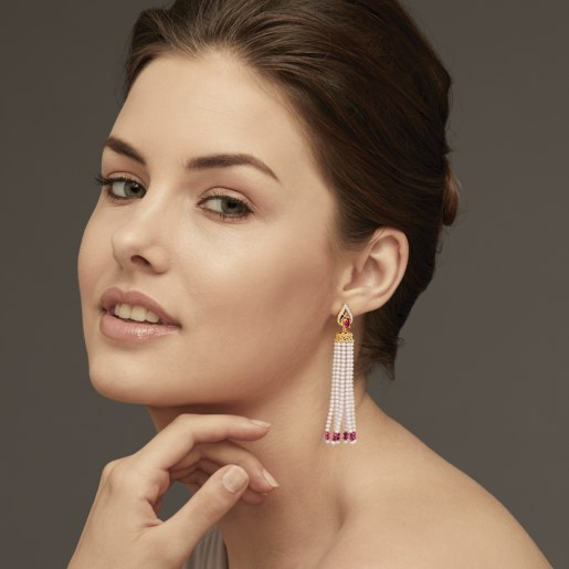 Diamond , Ruby And Tassel1 Earring In Yellow Gold (7.89 Gram) With Diamonds (0.196 Ct)