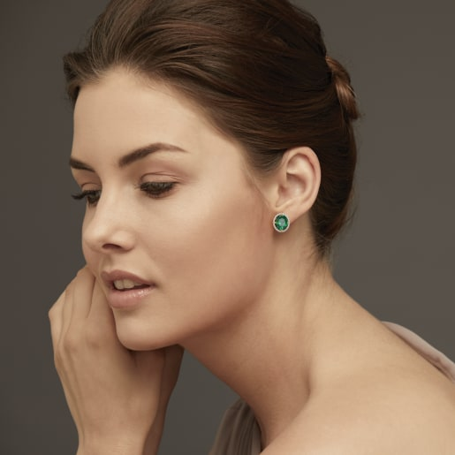 Diamond And Green Tourmaline Earring In Yellow Gold (4.87 Gram)