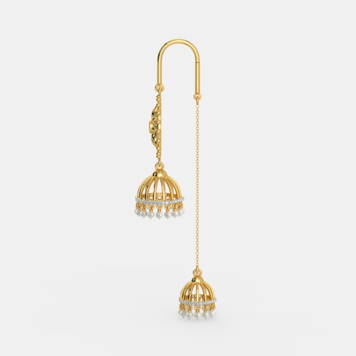 Diamond , White Pearl And Ruby Earring In Yellow Gold (14.06 Gram) With Diamonds (0.400 Ct)