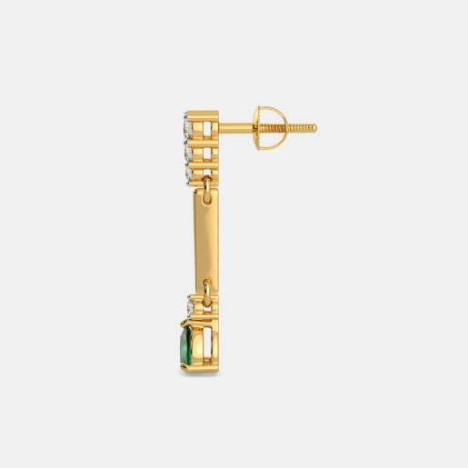 Diamond And Emerald Earring In Yellow Gold (3.19 Gram) With Diamonds (0.288 Ct)