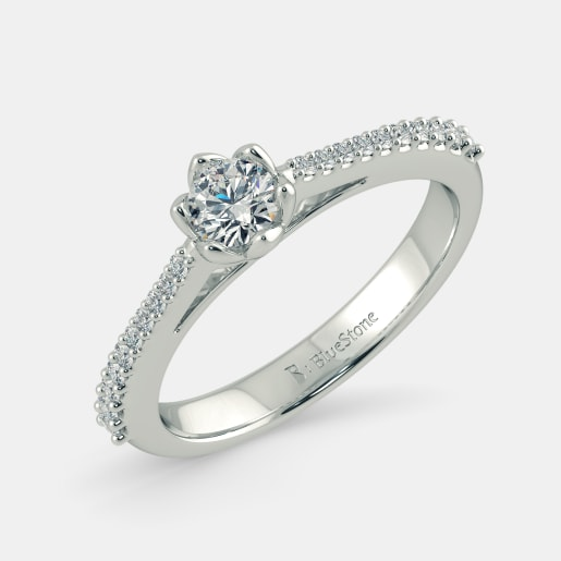 Diamond PreSet Solitaire Ring In White Gold (3.095 Gram) With Diamonds (0.136 Ct) And Solitaire (0.15 Ct)