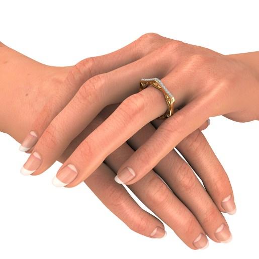 Diamond Ring In Yellow Gold (2.9 Gram) With Diamonds (0.160 Ct)