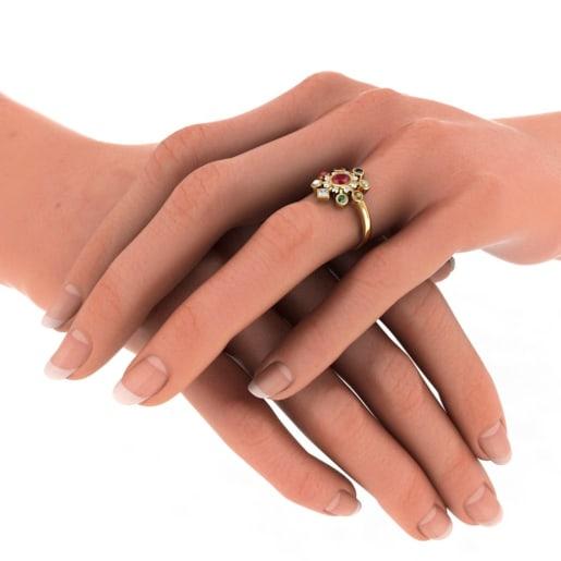 Navaratna , Diamond , Ruby Ring In Yellow Gold (3.905 Gram)