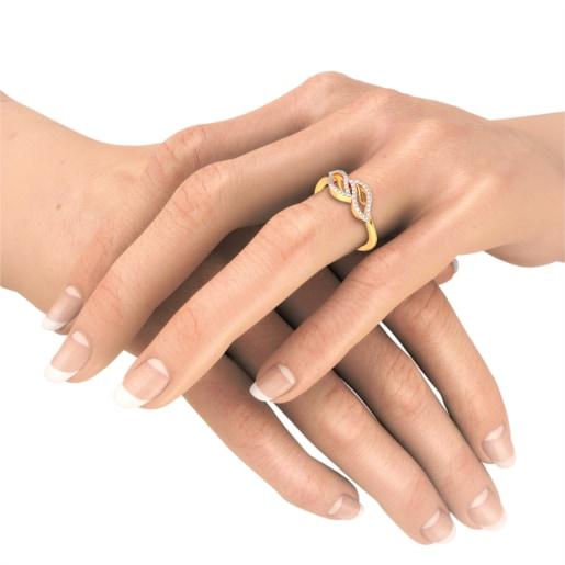 Diamond Ring In Yellow Gold (2.45 Gram) With Diamonds (0.202 Ct)