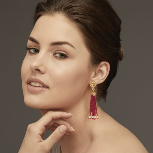 Diamond , Ruby And Tassel Earring In Yellow Gold (8.98 Gram)