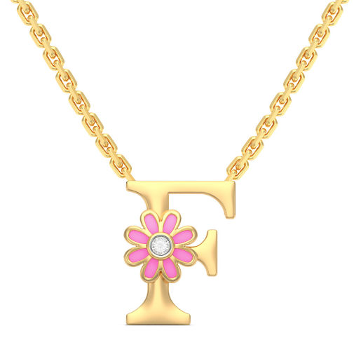 F for flower Necklace for Kids